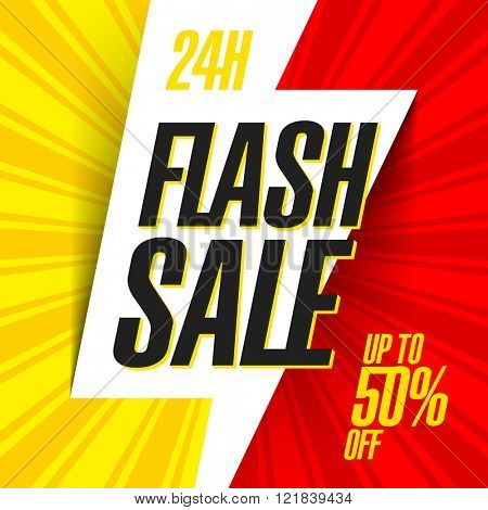 24 hour Flash Sale bright banner. Vector illustration.