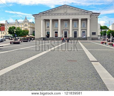 VILNIUS LITHUANIA - AUGUST 12: View of town square of Vilnius on August 12 2012. Vilnius is a capital and largest city of Lithuania.