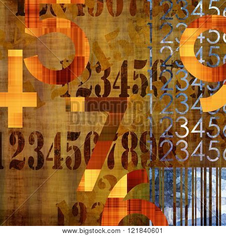 art abstract grunge collage of  number and typo, monochrome  background in orange gold, brown and black colors and blue