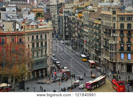 BARCELONA SPAIN - JANUARY 13: Top view of Barcelona cuty centre on January 13 2013. Barcelona is the capital city of the autonomous community of Catalonia in Spain