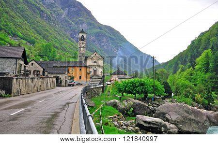 Old chapel in Vogorno village in Switzerland