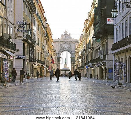 LISBON PORTUGAL - JANUARY 8: View of Via Agusta the main shopping street of Lisbon on January 8 2012. Lisbon is a capital and largest city of Portugal.