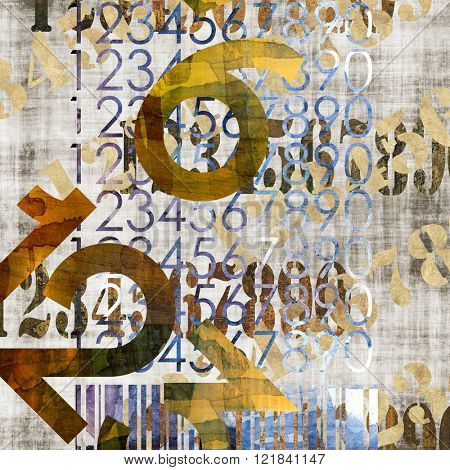 art abstract grunge collage of  number and typo, monochrome  background in old  gold, grey and black colors