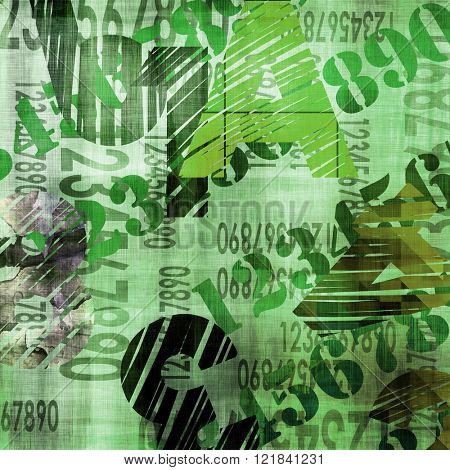 art abstract grunge collage of  number and typo, monochrome  background in green, white and black colors
