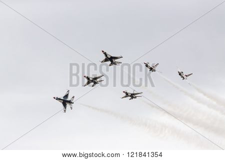 Las Vegas, NV - Mar 06, 2016: The United States Air Force Thunderbirds perform before the start of the Kobalt Tools 400 at the Las Vegas Motor Speedway in Las Vegas, NV.
