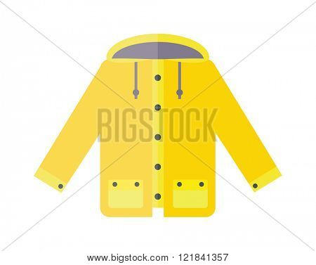 Yellow raincoat weather jacket cartoon vector illustration.