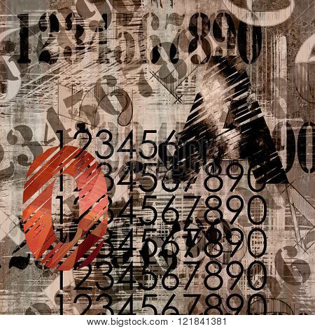 art abstract grunge collage of  number and typo, monochrome  background in sepia, brown and black colors and one red number
