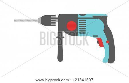 Drill hand tool flat vector electro tools