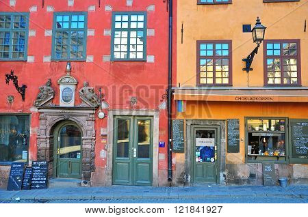 STOCKHOLM SWEDEN - MARCH 16: View of colorful houses on central square of Stockholm on March 16 2013. Stockholm is the most populous city in Sweden and on the Scandinavian peninsula.
