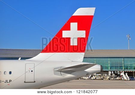HONG KONG CHINA - DECEMBER 26: Airbus of Swiss Airlines at Geneve International Airport on December 26 2012. Swiss is an international airline based in Switzerland.