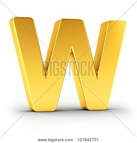 The Letter W as a polished golden object over white background with clipping path for quick and accurate isolation.