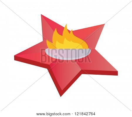 Eternal flame symbolizing victory in Great Patriotic War. Everlasting memory star fire flat vector illustration.