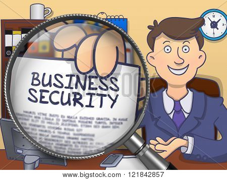 Business Security through Magnifying Glass. Doodle Design.