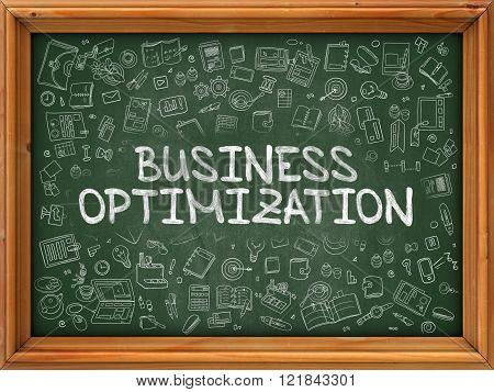 Business Optimization - Hand Drawn on Green Chalkboard.