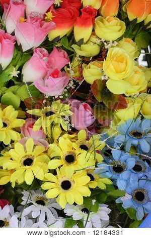 brightly colored artifical flowers