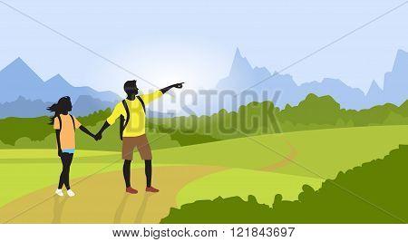 Couple Hiking Man Woman Silhouette Traveler Mountain