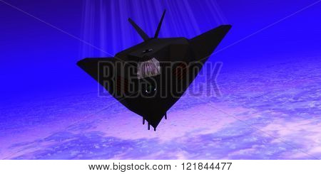 A pilot takes a Stealth Fighter jet through flight maneuvers on a training mission.