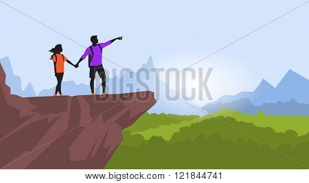 Couple Hiking Man Woman Silhouette Traveler Stand On Mountain Rock Cliff