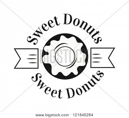 Bakery badge and donut logo badge icon modern style vector. Retro bakery label logo and bakery donuts badge icon. Bakery badge design element isolated on white background