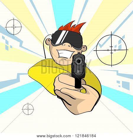 Boy Wear Digital Glasses Hold Pistol Gun Remote Controller Virtual Reality Cyber Play Video Game