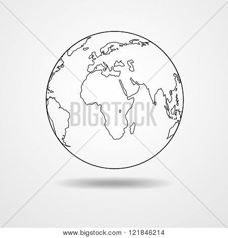 Black Contour Of The Globe - Vector Illustration.
