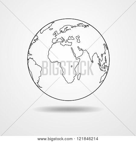 Black Contour Of The Globe - Vector Illustration.