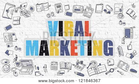 Viral Marketing in Multicolor. Doodle Design.