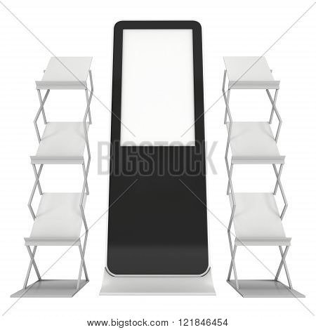 LCD Display Stand and Magazine Rack. Black LCD Trade Show Booth. 3d render isolated on white background. High Resolution LCD. Ad template for your expo design.