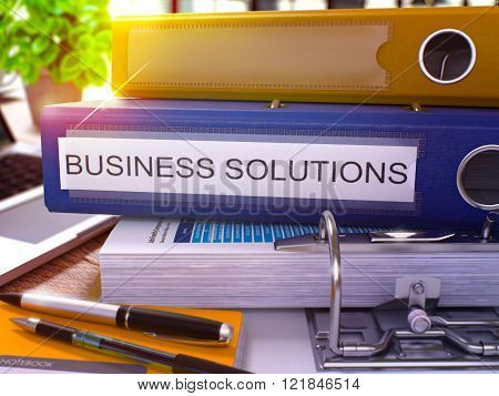 Blue Ring Binder with Inscription Business Solutions.