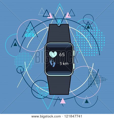 Smart Watch Fitness Tracker Application Technology Electronic Device Over Triangle Geometric Backgro