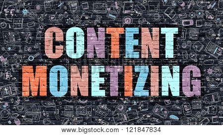 Content Monetizing in Multicolor. Doodle Design.