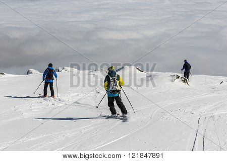 Freestyle Skiing In The Mountain Clouds