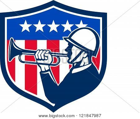 American Soldier Bugler Reveille Usa Flag Crest Retro