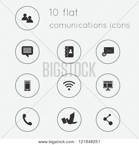 Modern Flat Icons Vector Collection Of Communications Theme.