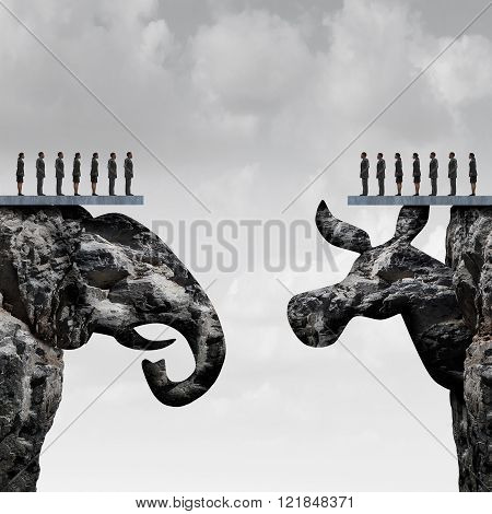 Republican democrat political division concept and American election fight as as two mountain cliff sculptures shaped as an elephant and donkey symbol fighting for the vote of the United states presidential and government seats.