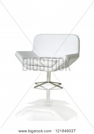 Rotary white armchair