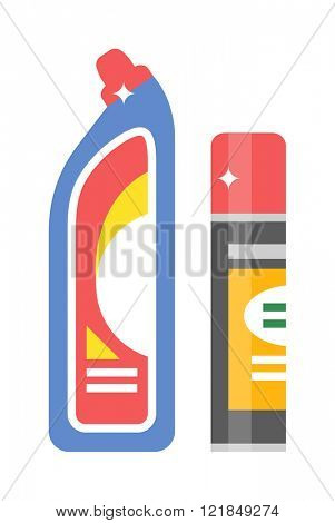 Cleaning product detergent plastic bottle and spray bottle isolated cartoon flat vector on white background. Household chemicals bottle and chemical liquid spray.