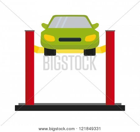 Car repair service diagnostics cartoon flat vector illustration. Auto car mechanic repair of machines and car repair work equipment.