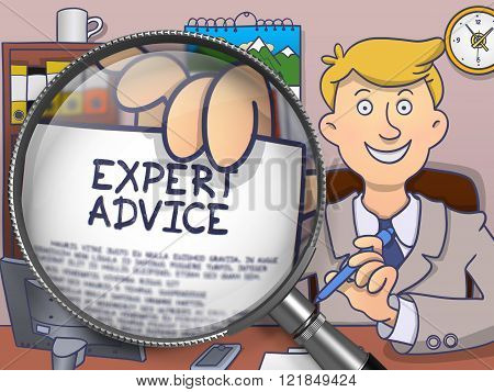 Expert Advice through Lens. Doodle Concept.