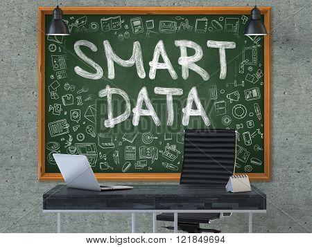 Smart Data - Hand Drawn on Green Chalkboard.
