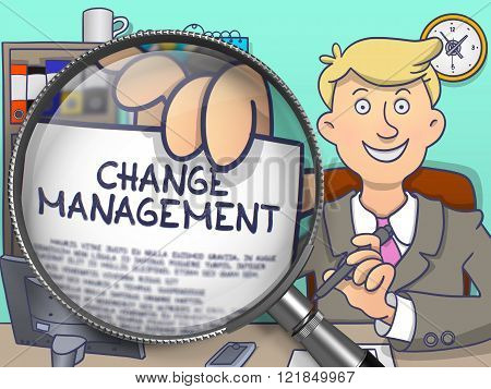 Change Management through Magnifier. Doodle Style.