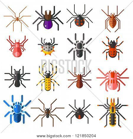 Flat spiders cartoon scary symbols and spiders insect flat design. Set of flat spiders cartoon colored icons vector illustration isolated on white background.