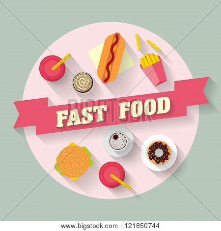 Lunch With French Fries, Hot Dog, Burger, Cupcake, Donut, Coffee And Soda. Fast Food. Flat Lay Desig