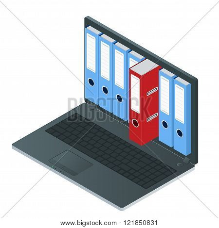 File cabinets inside the screen of laptop computer. Laptop and file cabinet. Data storage 3d isometr