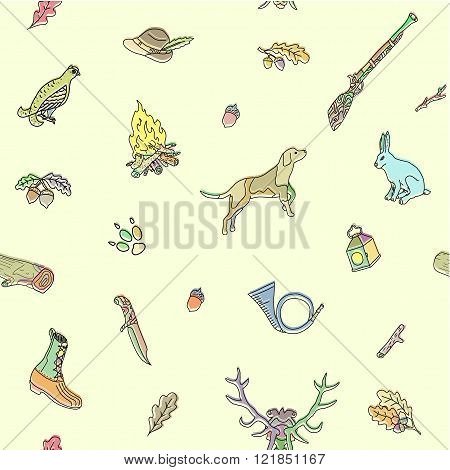 Seamless pattern. Hunting. Doodle. Vector