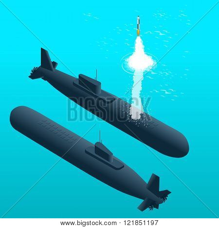 Nuclear submarine traveling underwater.Nuclear powered submarines. Flat 3d isometric vector illustra