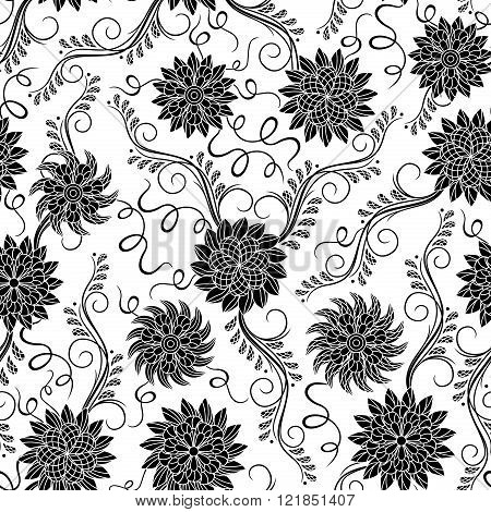 Seamless Floral Black And White Pattern