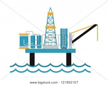 Sea oil rig platform symbol and oil drill rig in sea flat vector. Sea oil rig offshore platform technology flat vector illustration.