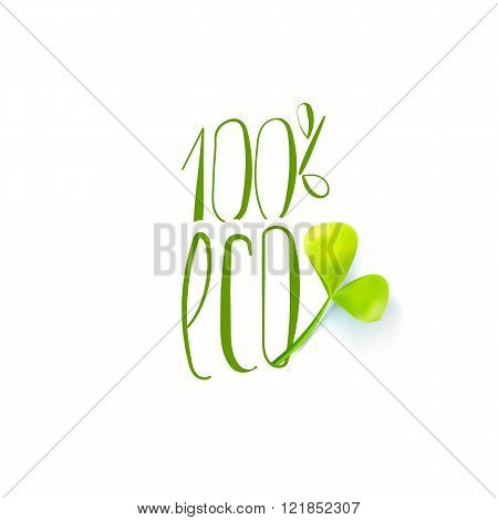 One hundred percent eco with leaf