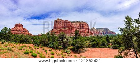 Panorama Shot Of The Red-rock Buttes In Sedona, Arizona